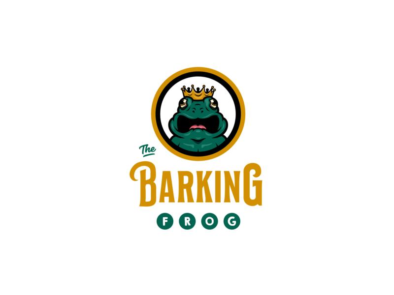 Barking Frog Logo brand and identity typography branding character design logo icon illustration ai vector design