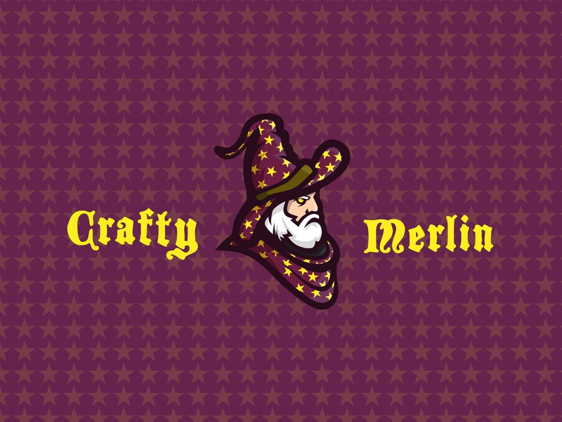 Crafty Merlin Logo background design brand and identity branding typography icon drawing logo illustration ai vector design