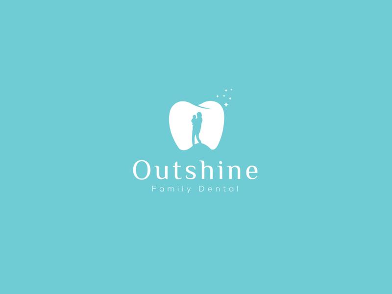 Outshine typography identity design logo dental family dental clinic dental logo dental care
