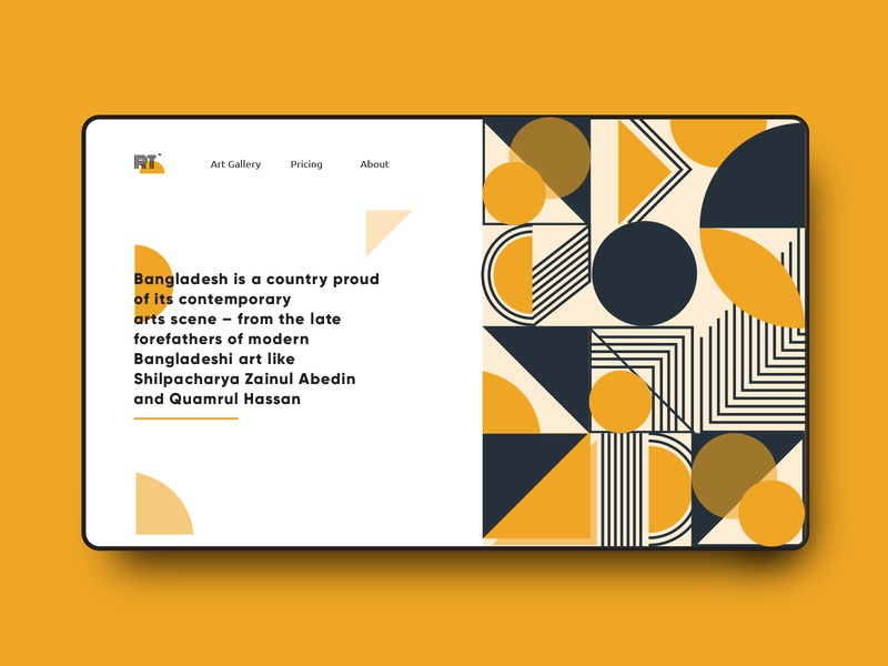 Art Gallery- Header Exploration art print art book artwork art gallery home screen homepage illustration web page design web page header design
