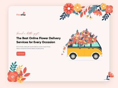 Flower Delivery floral flower van flower delivery flower service web app ui ux illustration design