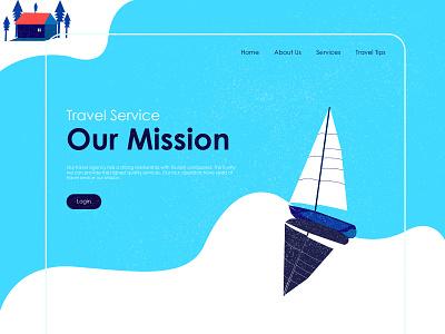 Travel Boat website design illustration travelling travel app ui website design webpage illustration webpage design web page design