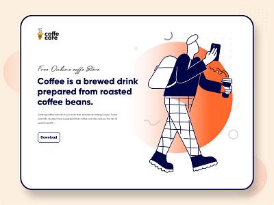 Coffee shop - Hero Image coffee walking brand ui coffe coffee cup coffeeshop hero image illustration coffee bean coffee shop design