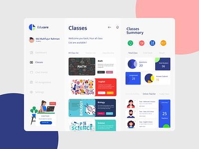 Educare Dashboard dashboard ui education dashboard design