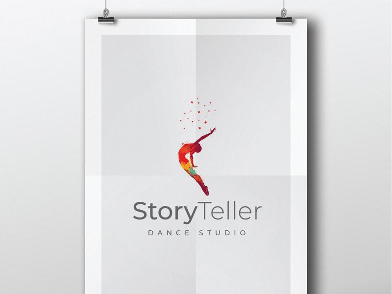 StoryTeller vector drawing dance logo dance studio dance party dance music dancehall icon corporate branding illustration design branding identity logo