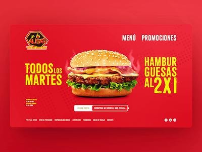 Las Alitas Website 2017 burger ui functional tasty food ux website
