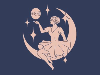 Luna classic simplistic illustration luna moon records
