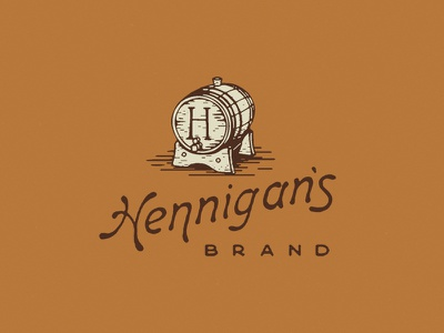 Hennigan's type logo design monoline simple vector illustration booze whiskey label scotch