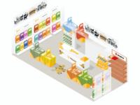 Isometric illustration of animal food retail store