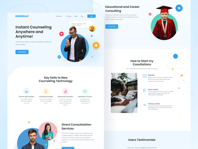 Konselia Landing page ui design web blue website design education course consulting ux design design clean flat uidesign landing mentalhealth health landing page landingpage web design website ui