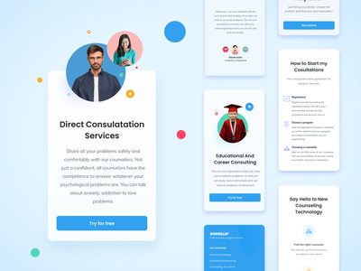 Mobile Responsive Konselia modern small minimal dribbble consulting design landing page landingpage website mobile clear education blue uxui consultation mental health health responsive ui design ui