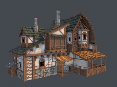 Low Poly House 3D Model house 3d modeling low poly