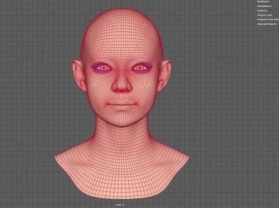 Girl 3D Face Mesh 3d modeling 3d art 3d mesh