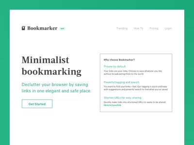 Bookmarker Landing page pitch page landing page minimalism bookmarking acta