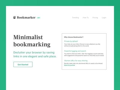 Bookmarker Landing page