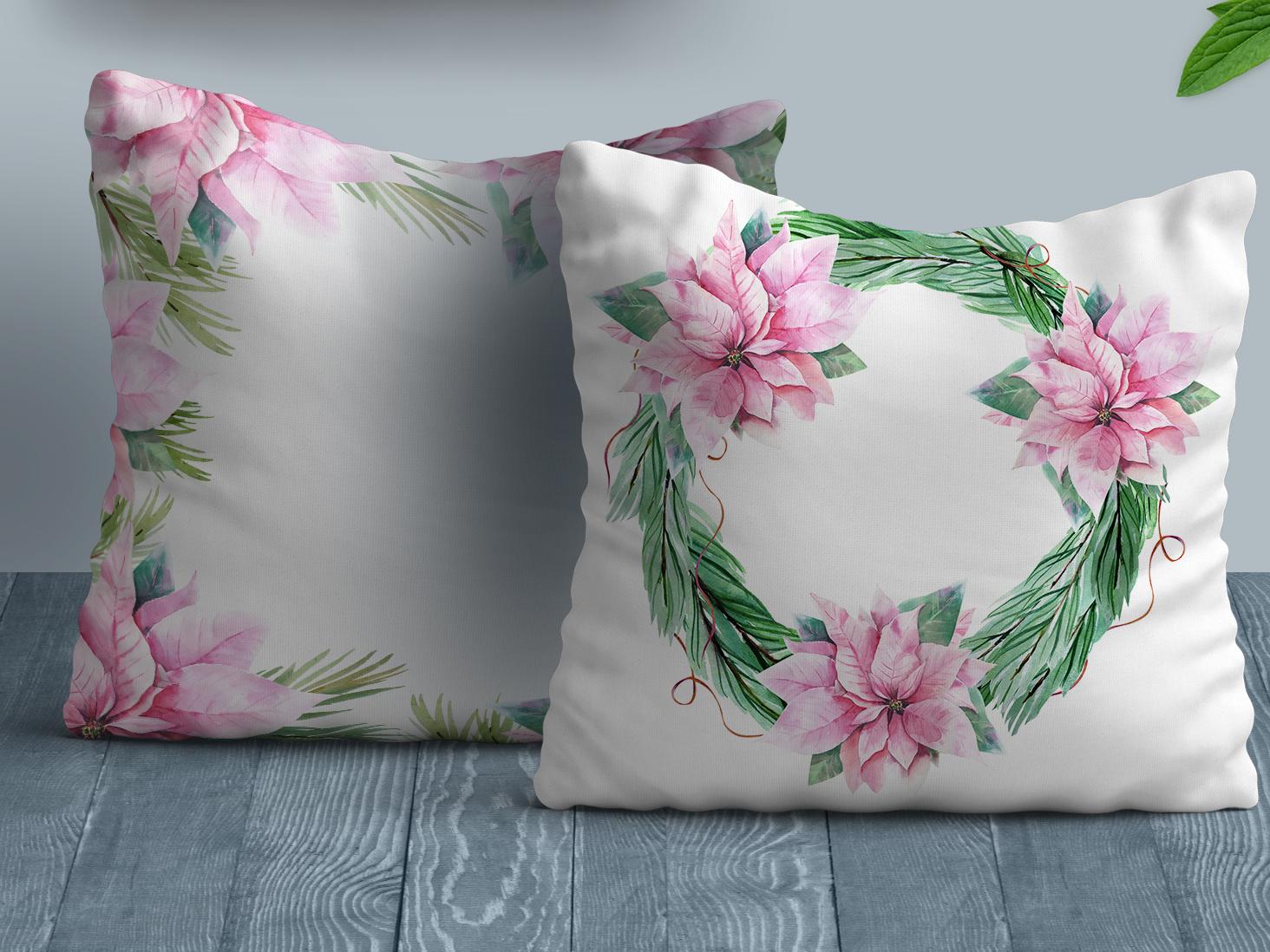 Christmas Cushions home decor textile design cushion christmas wreath poinsettia set design christmas seamless textile seamless pattern pattern design watercolor illustration