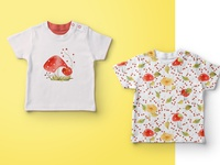 Baby t-shirts with mushrooms