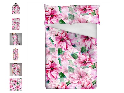Bedsheets with poinsettis flowers