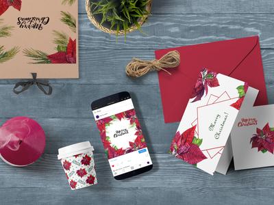 Red Poinsettia Set
