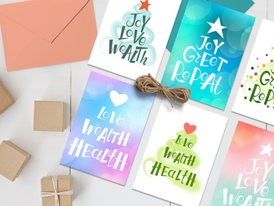 Lettering Christmas cards set