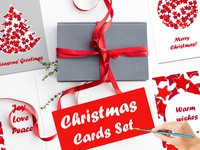 Christmas cards with red stars pattern