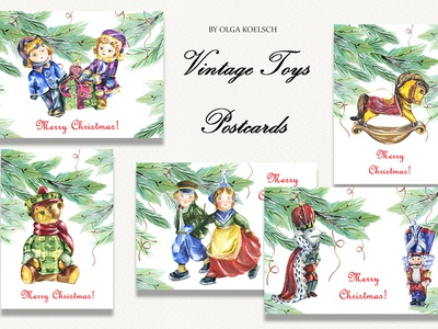 Vintage Toys Christmas Cards