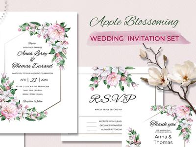 Watercolor wedding Invitasion set