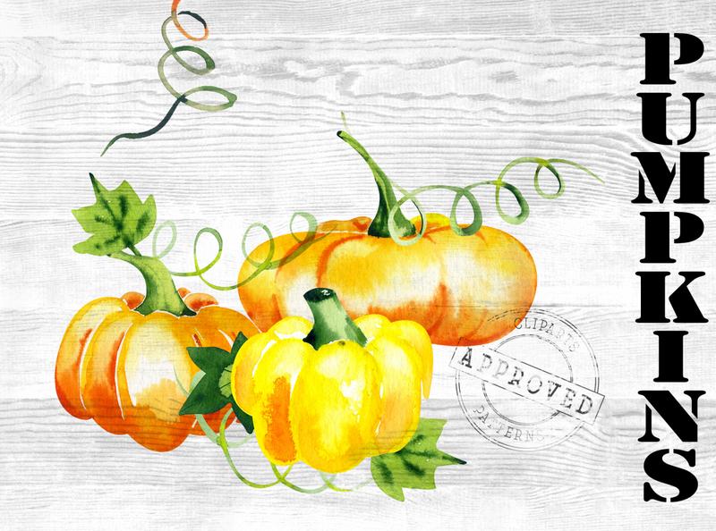 Watercolor Bright Pumpkins Set