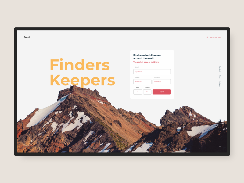 Galli homepage webdesign mountains travel web ui ux typography type design graphicdesign