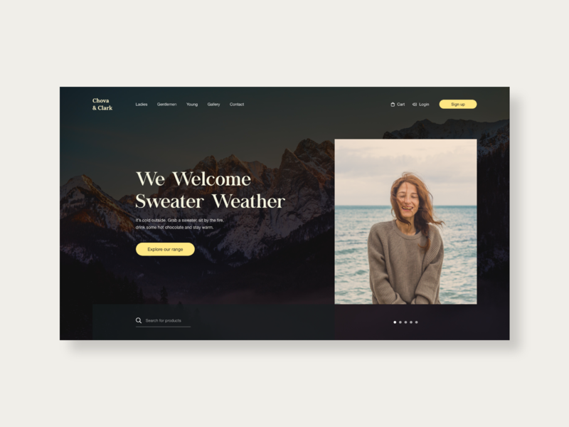 Chova & Clark sweaters mountains yellow clothing webdesign homepage flat web ux ui typography type graphicdesign design
