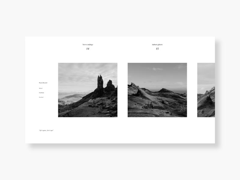 Photography Portfolio black and white hiking nature serif sanserif white whitespace squares branding mountains typography type webdesign homepage flat web ux ui
