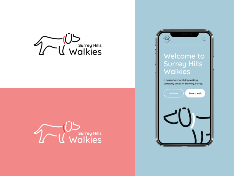 Surrey Hills Walkies - Logo & Website service dog walking dog logo branding ui ux design illustration adobe xd mockup design