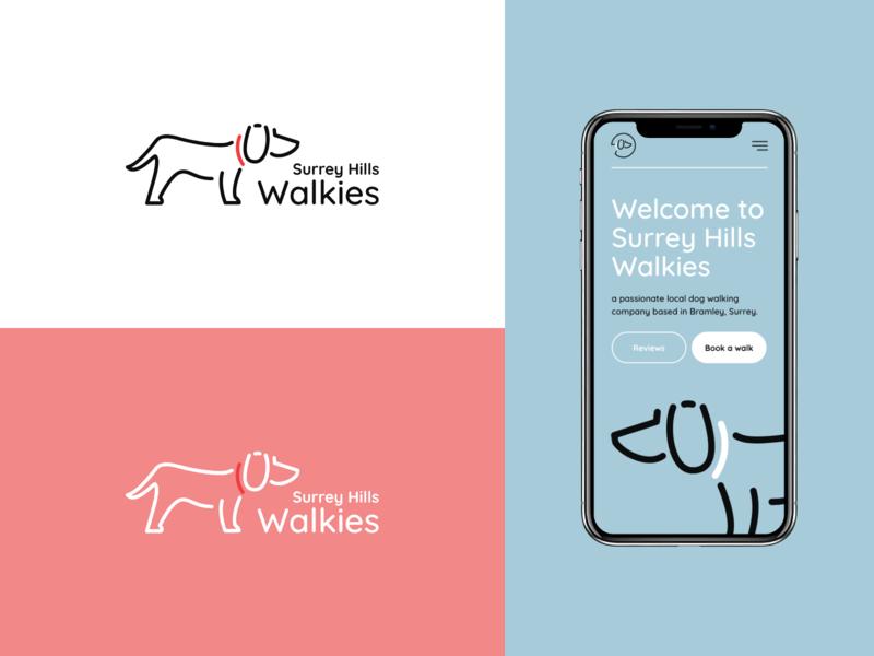 Surrey Hills Walkies - Logo & Website service dog walking dog logo branding ui ux design illustration adobe xd mockup design