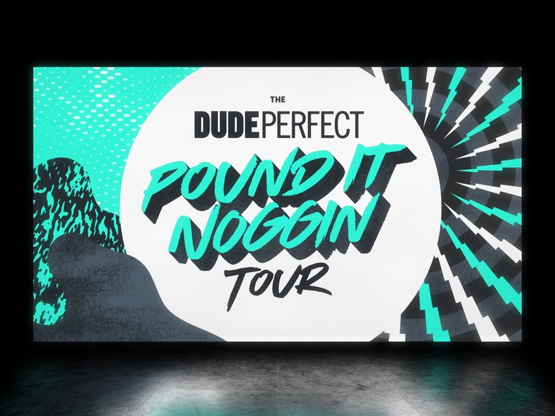 Dude Perfect Tour Graphics live show youtube lightning bolts bright patterns textures elements screen tour graphics dude perfect