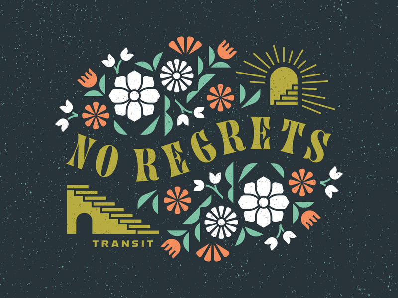 No Regrets stairs doorway church snake bird tattoo floral vector geometric speckled clean illustration key art