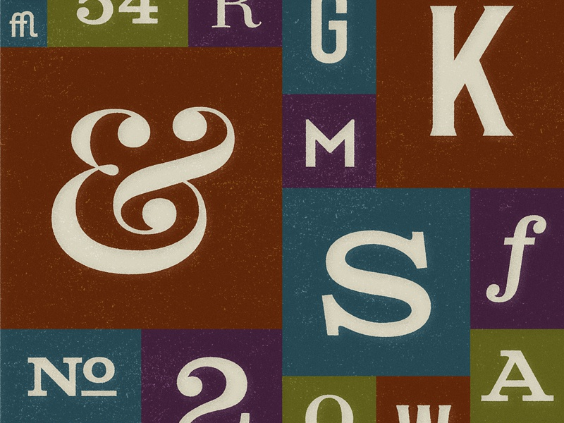 Typographic Jumble typography letters numbers ampersand grid muted grit poster squares random