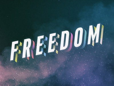 Freedom Key Art students layered 3d typogaphy lettering type dimensional