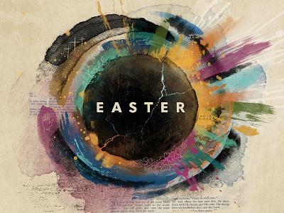 Easter 2019 resurrection church message detail collage digital illustration light paint stone tomb jesus key art easter