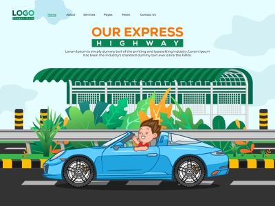 Illustration of Mawa Express Highway design colorful brand creative clean illustration