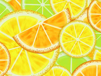 Citrus background citrus lemon orange lime design yellow green combimation drawing