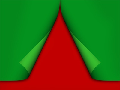 Creative Christmas tree formed from curled corner paper design creative ribbon chrismas tree paper corner label red green postcard colorful