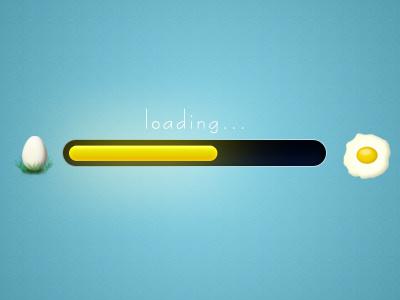 Progress bar loading progress bar egg ui loader design blue yellow fried eggs