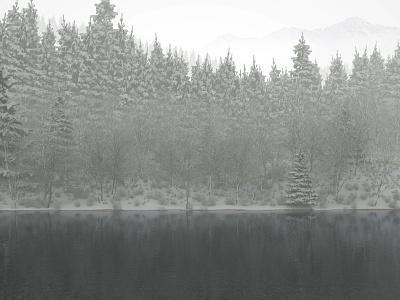Winter River illustration redshift3d c4d