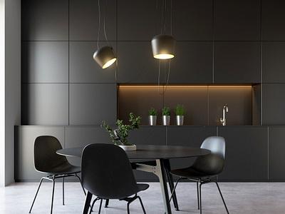 Kitchen black kitchen cardiff cinema 4d redshift3d c4d photoshop archviz