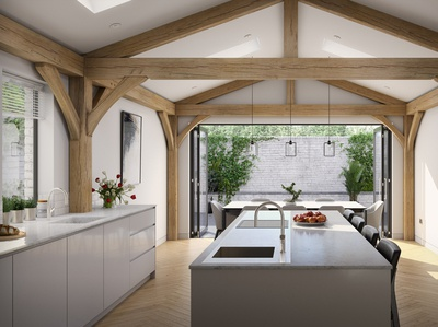 Contemporary Timber Framed Kitchen-Diner - Day time