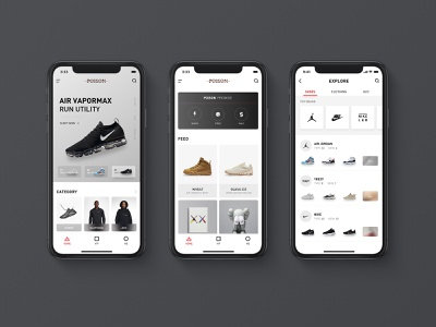 Redesign For Poison App kaws flat icon ux ui theten size shoes poison page nike black card app