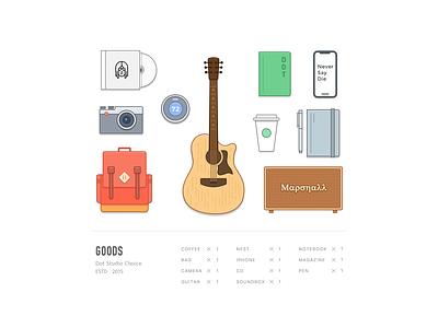 Goods dot guitar soundbox iphonex coffee bag pen notebook nest camera cd coffee illustration icons
