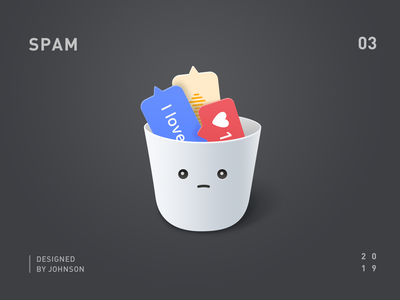 SPAM macosx sad emoji voice message instagram trash can spam face illustration illustrator icon a day icon