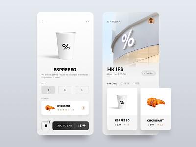 % ΔRΔBICΔ - Order minimalist menu cafe white price mobile clean ux order arabica coffee ui design card app