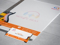 """""""Music Beat"""" Music Industry Letterhead and Business Card"""